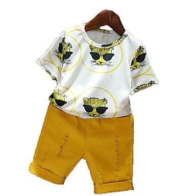 baratos Conjuntos para Meninos-Bébé Para Meninos Simples Casual Diário Feriado Sólido Estampado Buraco Estampado Manga Curta Algodão Conjunto Amarelo