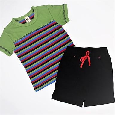 סט של בגדים כותנה קיץ שרוולים קצרים יומי פסים קולור בלוק בנים יום יומי פול תלתן