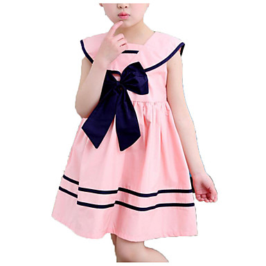 baratos Vestidos para Meninas-Infantil Para Meninas Simples Casual Diário Escola Sólido Listrado Laço Pregueado Sem Manga Vestido Azul / Algodão