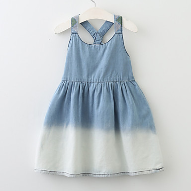 baratos Vestidos para Meninas-Bébé Para Meninas Activo Básico Boho Diário Para Noite Sólido Estampado Frente Única Com Corte Estilo vintage Sem Manga Vestido Azul