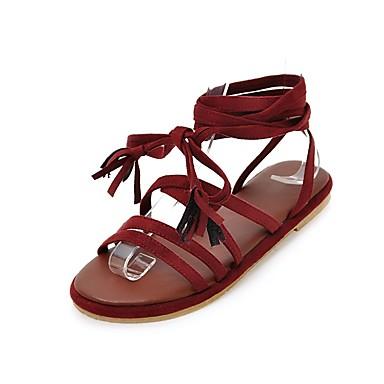 cheap Women's Sandals-Women's Shoes Silk Summer Novelty / Ankle Strap Sandals Flat Heel Open Toe Satin Flower Black / Gray / Wine / Lace up