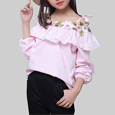 cheap Girls' Tops-Kids Girls' Street chic Daily Floral Patchwork Long Sleeve Regular Rayon Blouse White
