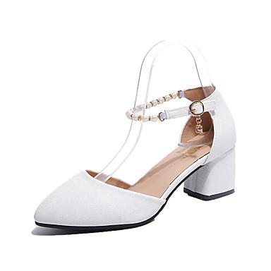 Mulheres Sapatos Couro Ecológico Primavera Verão Sandálias Caminhada Salto Robusto Dedo Apontado Presilha para Rosa Claro Castanho Escuro
