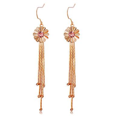 בגדי ריקוד נשים פרנזים עגילי טיפה - רוז גולד פרח צִיצִית, אופנתי, אלגנטית זהב עבור מסיבה\אירוע ערב / נשף רקודים