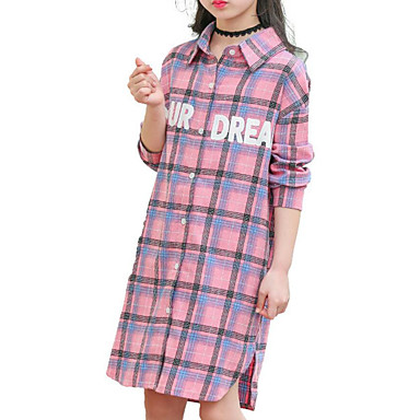 cheap Girls' Tops-Kids Girls' Basic Daily Solid Colored Print Plaid Pleated Long Sleeve Long Cotton Polyester Shirt Blushing Pink
