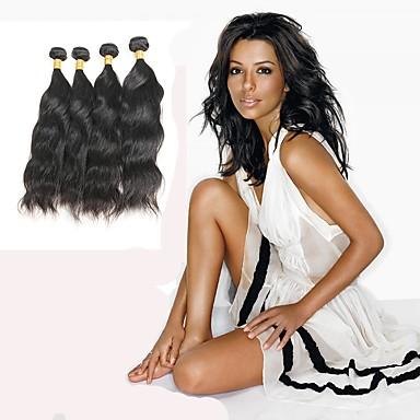 baratos Extensões de Cabelo Natural-4 pacotes Cabelo Indiano Ondulado Natural 10A Cabelo Natural Remy Cabelo Humano Ondulado Tramas de cabelo humano Extensões de cabelo humano