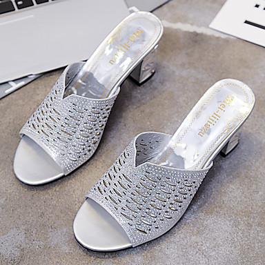 Dorado 06601251 Verano Zapatos Zapatillas Plateado PU Mujer de bloque y flops Confort Talón flip wB1S1qP