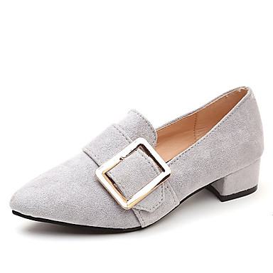 bde077a40 Women's Suede Spring Comfort Loafers & Slip-Ons Chunky Heel Pointed Toe  Black / Gray