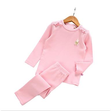 Brzdąc Dla dziewczynek Podstawowy Solidne kolory Długi rękaw Bawełna Komplet odzieży