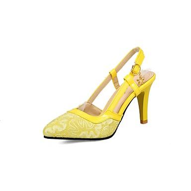 Mujer Zapatos Semicuero Verano / Otoño Tira en el Tobillo Tacones Tacón Cuadrado Dedo Puntiagudo Pedrería / Hebilla Beige / Amarillo / KhWo8DuSA