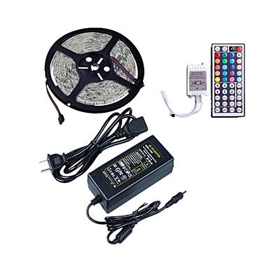 ราคาถูก ไฟประดับ-1x5M ไฟสาย RGB 300 ไฟ LED SMD5050 รีโมทคอนโทรล 44Keys / อะแดปเตอร์ไฟฟ้า 1 X 5A RGB Waterproof / Cuttable / ตกแต่ง 12 V 1set