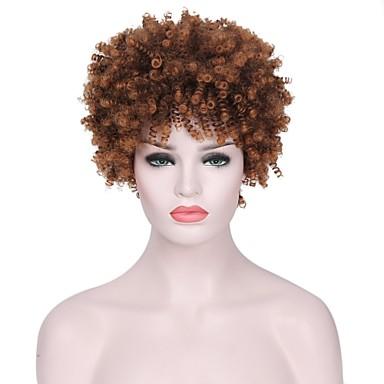 Peruki syntetyczne Curly Fryzura cieniowana Włosie synetyczne Paruka sztuczne loki Brązowy Peruka Damskie Krótkie Bez czepka Brązowy