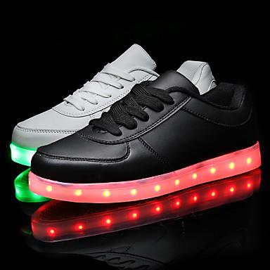 Mujer deporte Zapatos Negro Hombre Otoño de Plano Confort Zapatos Blanco Primavera Zapatillas LED luz PU 05156220 con Tacón FxPPwqdBna