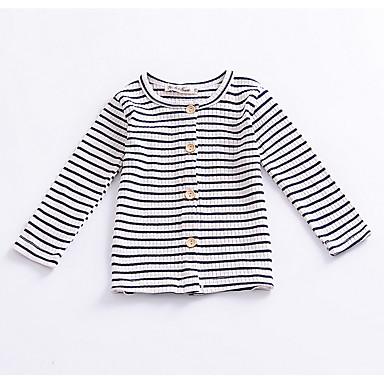 Noworodek Dla dziewczynek Vintage Prążki Nadruk Długi rękaw Bawełna Sweter i kardigan