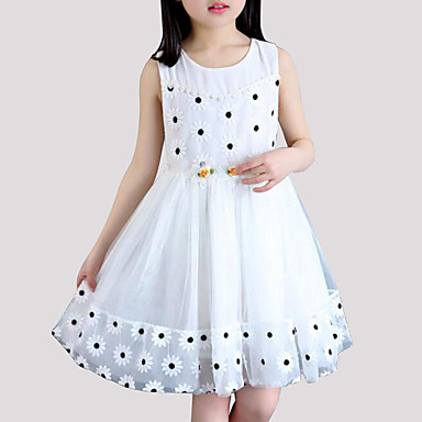 2cf3109eefbe2 Kids Girls' Street chic Daily Going out Floral Patchwork Mesh Patchwork  Sleeveless Polyester Dress Blushing Pink