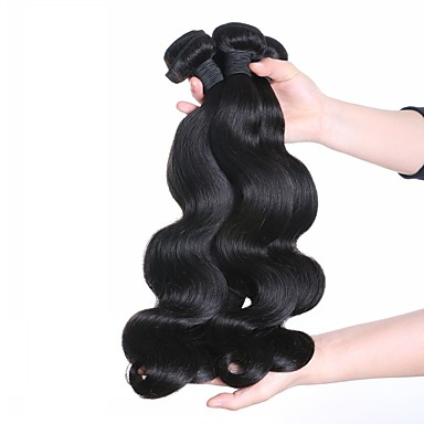 3 pachete Păr Malayezian Ondulat Păr Natural Extensii din Păr Natural 24 inch Umane Țesăturile de par Realizat la mașină Viață Umane extensii de par Pentru femei