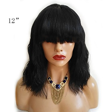 cheap Human Hair Wigs-Human Hair Unprocessed Human Hair Lace Front Wig Bob Short Bob Straight bangs Kardashian style Brazilian Hair Wavy Wig 130% Density with Baby Hair Natural Hairline For Black Women 100% Hand Tied