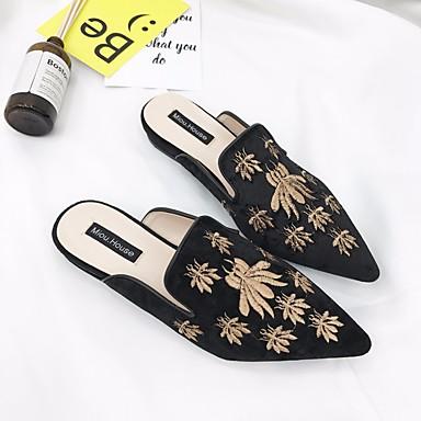 Mules Bas Or Femme Sabot Printemps 06641291 amp; Talon Automne Cuir Chaussures Confort Noir 1v0wvzq