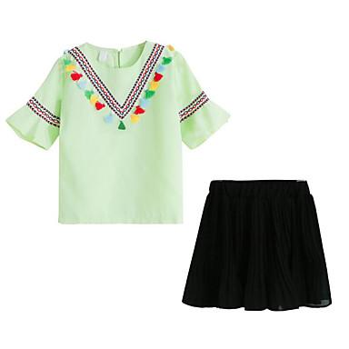 Dzieci Dla dziewczynek Aktywny Święto Solidne kolory / Nadruk Krótki rękaw Bawełna Komplet odzieży / Śłodkie