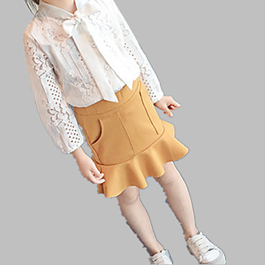 Brzdąc Dla dziewczynek Codzienny Solidne kolory Falbana Długi rękaw Regularny Regularny Poliester Komplet odzieży Biały 120 / Śłodkie