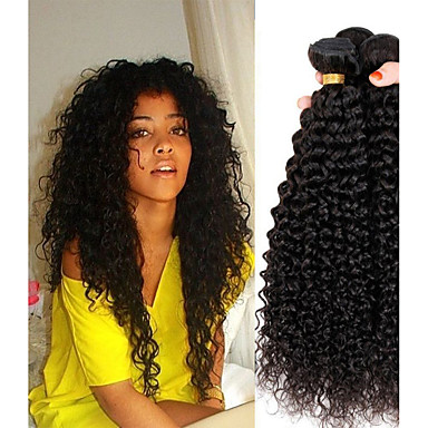 저렴한 가발 & 헤어 연장-4 묶음 페루인 헤어 Kinky Curly 10A 버진 헤어 인간의 머리 직조 익스텐션 한 팩 솔루션 8-28 인치 자연 색상 인간의 머리 되죠 큐트 소프트 뜨거운 판매 인간의 머리카락 확장 여성용 / 처리되지 않은