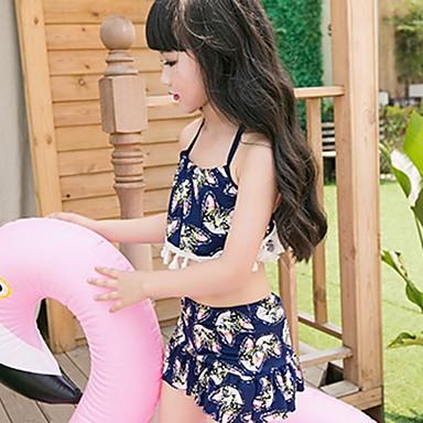 baratos Roupas de Banho para Meninas-Infantil Para Meninas Praia Geométrica Estampado Sem Manga Roupa de Banho Azul Marinha / Fofo