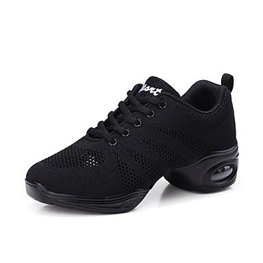 Women's Dance Sneakers Tulle Sneaker Flat Heel Customizable Dance Shoes White / Black / Red / Performance / Practice