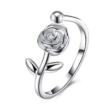 eeb3f06fb19e Women s Cubic Zirconia Open Cuff Ring S925 Sterling Silver Flower Ladies  Fashion Ring Jewelry Silver For Gift Daily Adjustable