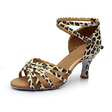 Pentru femei Satin / Imitație de Piele Pantofi Dans Latin Despicare Sandale / Călcâi Toc Personalizat Personalizabili Argintiu / Leopard / Culoarea pielii / Interior / EU40