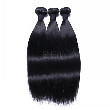 3 pachete Păr Brazilian Drept Păr Natural Extensii din Păr Natural 18 inch Culoare naturală Umane Țesăturile de par Realizat la mașină Moale / Lin / cald Vânzare Umane extensii de par Pentru femei
