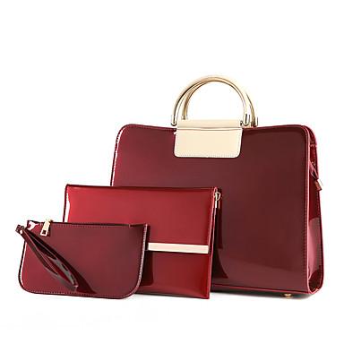 f2a0e0c08c Γυναικεία Τσάντες PU Σετ τσάντα 3 σετ Σετ τσαντών Φερμουάρ Μαύρο   Βυσσινί    Κρασί