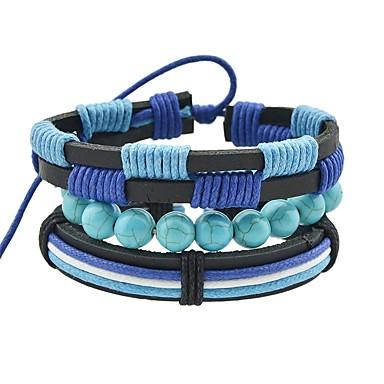 baratos Bangle-Mulheres Enrole Pulseiras Pulseira larga Oco senhoras Vintage Básico Cordão Pulseira de jóias Azul Para Encontro Rua / Turmalina de imitação
