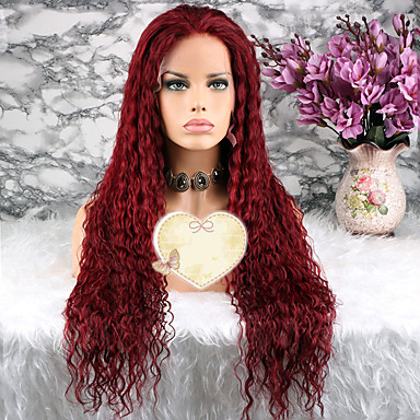 abordables Perruques Naturelles Dentelle-Perruque Cheveux Naturel Rémy Lace Frontale Cheveux Brésiliens Bouclé Rouge Coupe Dégradée 130% avec des cheveux de bébé vin foncé Femme Court Moyen Long Perruque Naturelle Dentelle Luckysnow