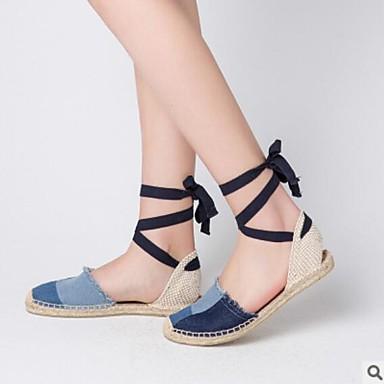 Mujer Zapatos Primavera Confort Tacones Tacón Cuadrado Puntera abierta Cuentas Negro / Beige / A Rayas cEc4vpb