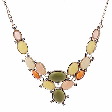 cheap Necklaces-Statement Necklace Drop Sweet Fashion Stone Alloy Rainbow 46 cm Necklace Jewelry For Birthday Evening Party