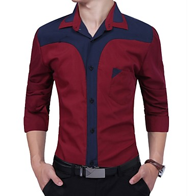 Men's Business Shirt-Color Block