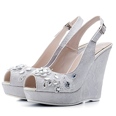 185bc1e4f7e58 Women s Lace Spring   Summer Comfort Wedding Shoes Wedge Heel Peep Toe  Rhinestone White