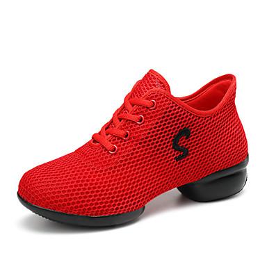 Damskie Adidasy do tańca Tiul Adidasy Płaski obcas Personlaizowane Buty do tańca Biały / Czarny / Czerwony / Trening
