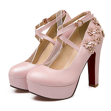 Automne Nouveauté Talons Chaussures Chaussures PU de Confort microfibre 06623835 à synthétique Bottier Printemps Talon Bout Femme Boucle rond 84qYw4