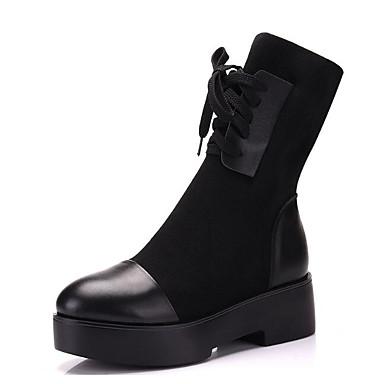 Femme mollet Cuir Talon Bottes Bottes Bottier Mode Automne 06627693 Hiver Mi Noir la à Chaussures Confort Bottes r6qRx5wr
