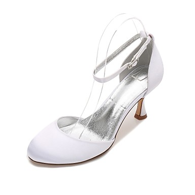 8863d2fa092 Women s Satin Spring   Summer Comfort   D Orsay   Two-Piece Wedding Shoes  Kitten Heel Round Toe Blue   Champagne   Ivory