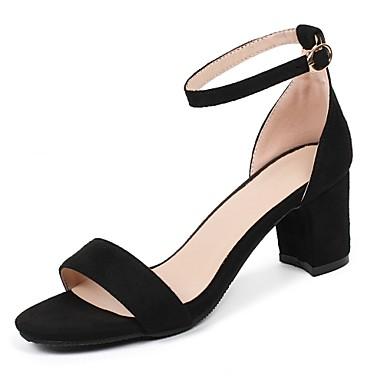 Mujer Zapatos Piel de Oveja Primavera / Verano Confort / Pump Básico Sandalias Tacón Cuadrado Negro / Verde / Rosa vat9ck