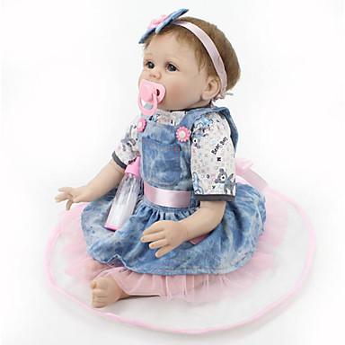 halpa Reborn Dolls-NPKCOLLECTION NPK DOLL Reborn Dolls Vauvat 22 inch Silikoni Vinyyli - Vastasyntynyt elävä Cute Käsintehty Lapsiturvallinen Non Toxic Lasten Tyttöjen Lelut Lahja / Lovely / CE / Luonnollinen ihonväri