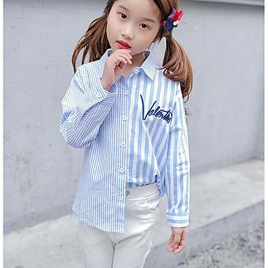 baratos Blusas para Meninas-Infantil Para Meninas Básico Diário Listrado Manga Longa Camisa Azul
