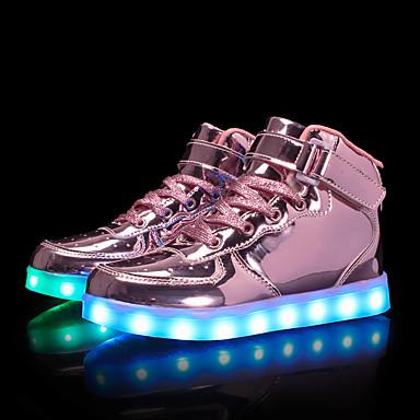저렴한 9개월-4세 연령대-남아 / 여아 에나멜 가죽 운동화 유아 (9m-4ys) / 어린 아이들 (4-7ys) / 빅 키즈 (7 년 +) 야광 신발 LED 골드 / 슬리버 / 핑크 여름