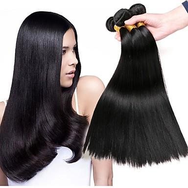 baratos Extensões de Cabelo Natural-3 pacotes Cabelo Malaio Liso 8A Cabelo Humano Cabelo Humano Ondulado Extensões de Cabelo Natural Côr Natural Tramas de cabelo humano extensão Venda imperdível Extensões de cabelo humano Todos