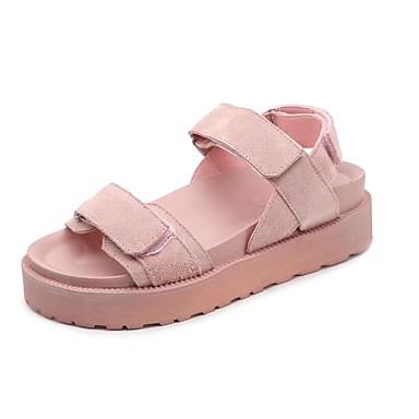 Dame Sko PU Vår / Sommer Komfort Sandaler Plattform Åpen Tå Svart / Rosa