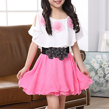 Girl's Daily Going out Floral Patchwork Dress, Polyester Summer Short Sleeves Street chic Fuchsia