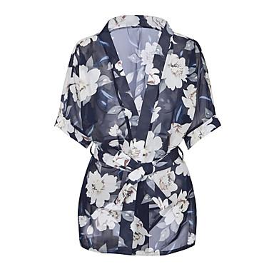 abordables Lencería de Mujer-Mujer Sexy Traje Ropa de dormir - Estampado Floral Azul Piscina Tamaño Único
