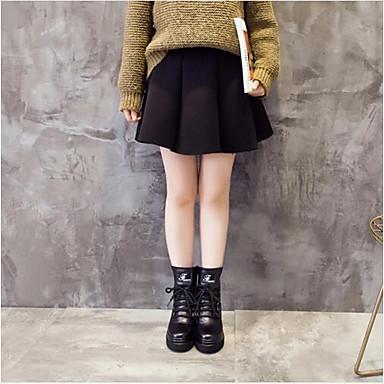 Tulle Chaussures Noir Bottes Hauteur Femme semelle Confort Printemps de 06647365 Polyuréthane compensée Hiver 5CgwW6fd